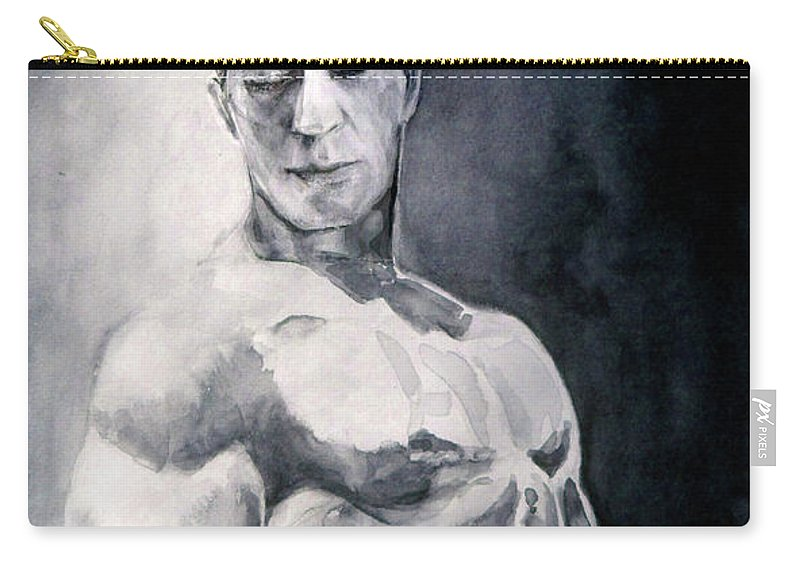 Portraits Carry-all Pouch featuring the painting Body Building by Miki De Goodaboom