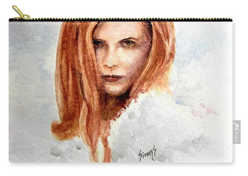 Red Carry-all Pouch featuring the painting Bonni by Sam Sidders