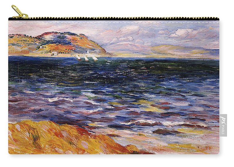 Impressionist; Impressionism; Landscape; Seascape; Sea; Ocean; Boat; Yacht; Sail; Sailing; Mountain; Mountainous; Bay; Water Carry-all Pouch featuring the painting Bordighera by Pierre Auguste Renoir