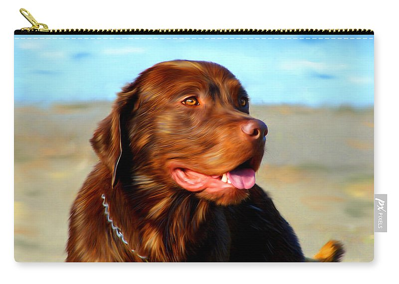 Dogs Carry-all Pouch featuring the painting Bosco At The Beach by Michelle Wrighton