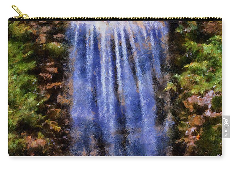 Waterfall Carry-all Pouch featuring the digital art Botanical Garden Falls by Lynne Jenkins