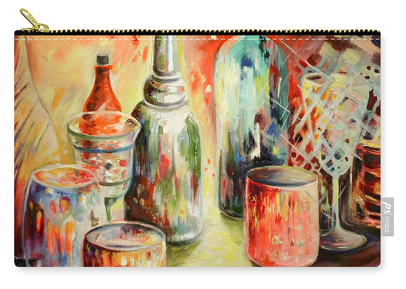 Still Carry-all Pouch featuring the painting Bottles And Glasses And Mugs 03 by Miki De Goodaboom