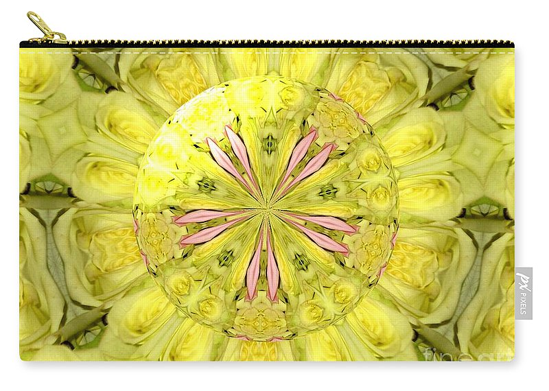 Yellow Roses Carry-all Pouch featuring the photograph Bouquet Of Roses Kaleidoscope 12 by Rose Santuci-Sofranko