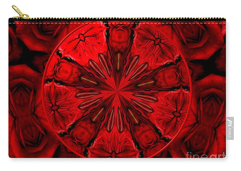 Red Roses Carry-all Pouch featuring the photograph Bouquet Of Roses Kaleidoscope 6 by Rose Santuci-Sofranko