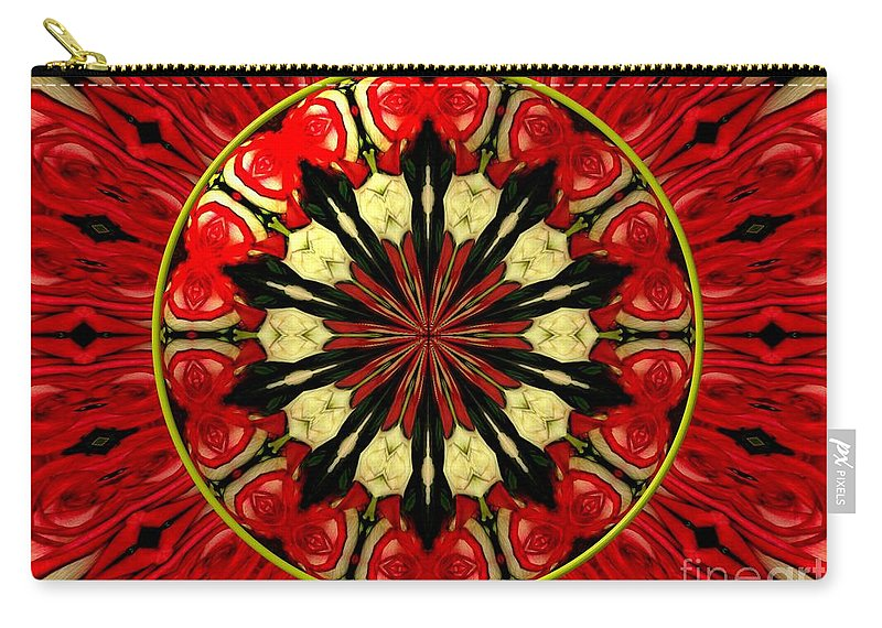 Red Roses Carry-all Pouch featuring the photograph Bouquet Of Roses Kaleidoscope 8 by Rose Santuci-Sofranko