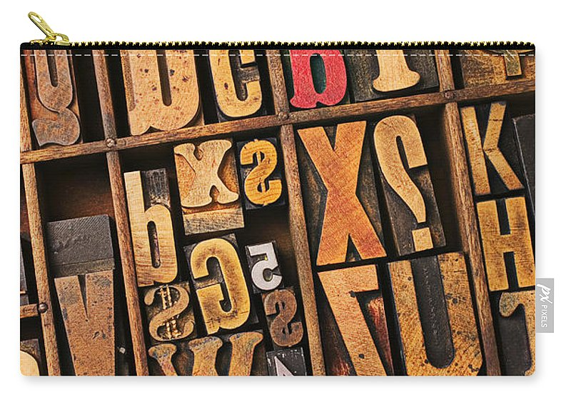 Type Carry-all Pouch featuring the photograph Box Of Old Wooden Type Setting Blocks by Garry Gay