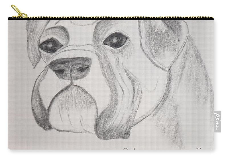 Boxer Carry-all Pouch featuring the drawing Boxer No Crop by Maria Urso