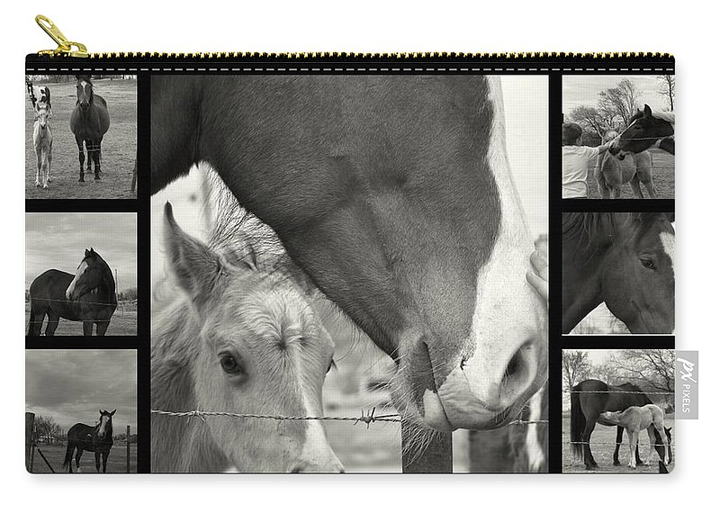 Black And White Photography Carry-all Pouch featuring the photograph Boy Meets Horse by Christy Leigh
