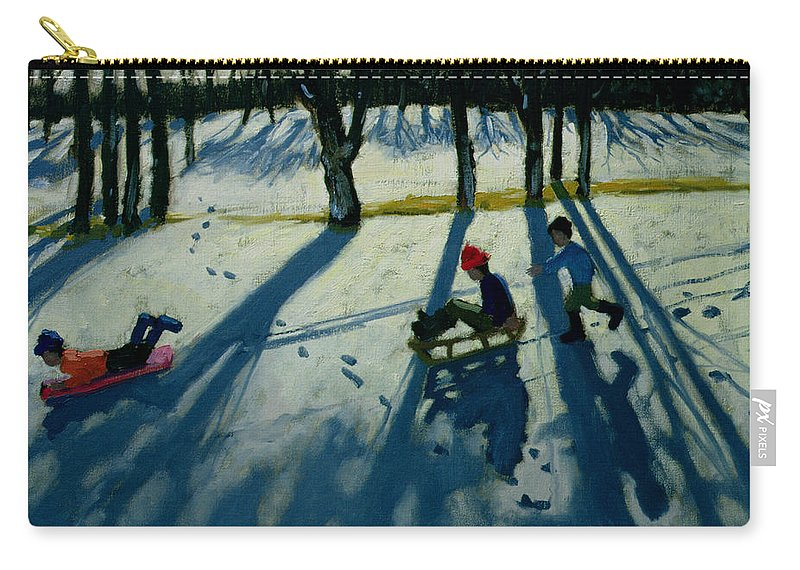 Sledge Carry-all Pouch featuring the painting Boys Sledging by Andrew Macara