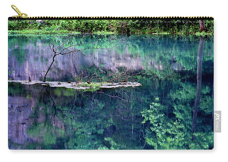 Reflections Carry-all Pouch featuring the photograph Branch And Reflections At Alley Spring State Park by Greg Matchick