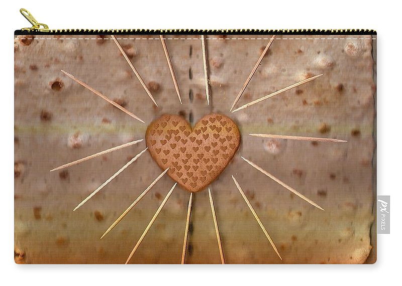 Heart Carry-all Pouch featuring the mixed media Bread Sunshine And Love by Pepita Selles
