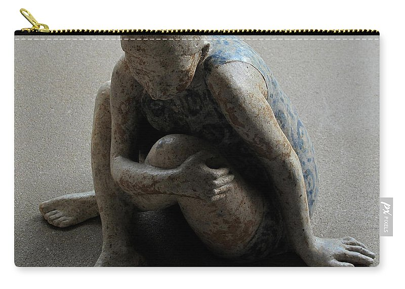 Sculpture Carry-all Pouch featuring the sculpture Breakfast on the grass by Raimonda Jatkeviciute-Kasparaviciene