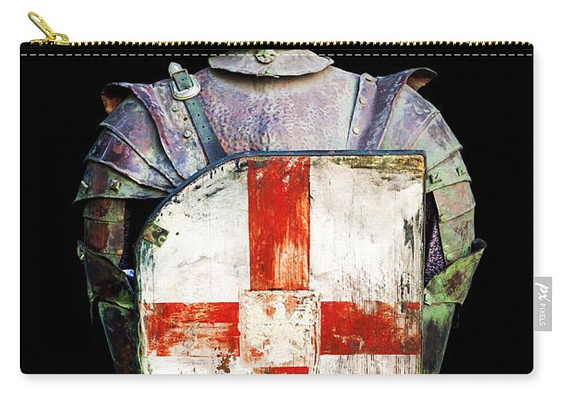 Black Background Carry-all Pouch featuring the photograph Breastplate by Fabrizio Troiani