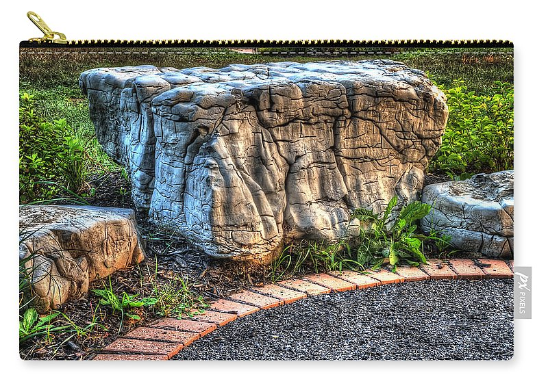 Acrylic Prints Carry-all Pouch featuring the photograph Brenda's Boulder At Dawn Or Altar In The Garden by John Herzog