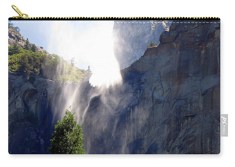 Yosemite Carry-all Pouch featuring the photograph Bridalveil Falls In Yosemite by Carla Parris