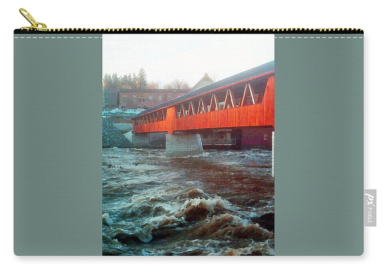 Bridge Prints Carry-all Pouch featuring the photograph Bridge Across The Ammonoosuc River by Marie Jamieson
