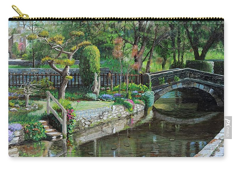 Scenic; Peak District; Garden; Flowers; Flower; Tranquil; Serene; English Landscape; Bridge; Bakewell; Derbyshire ; Tree; Trees; Water; Stairs Carry-all Pouch featuring the painting Bridge And Garden - Bakewell - Derbyshire by Trevor Neal
