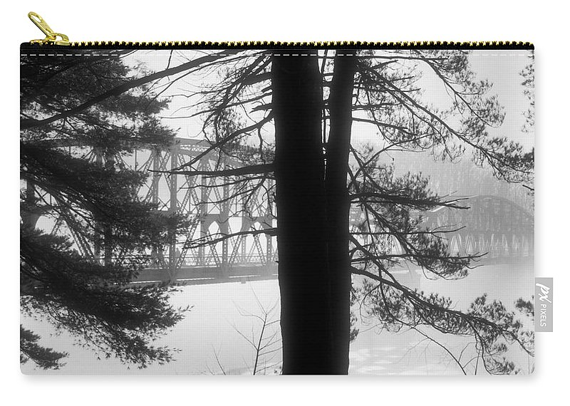 Bridge Carry-all Pouch featuring the photograph Bridge In The Fog Bw by Mark Dodd