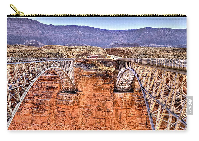 Lees Ferry Arizona Carry-all Pouch featuring the photograph Bridges At Lees Ferry by Jon Berghoff