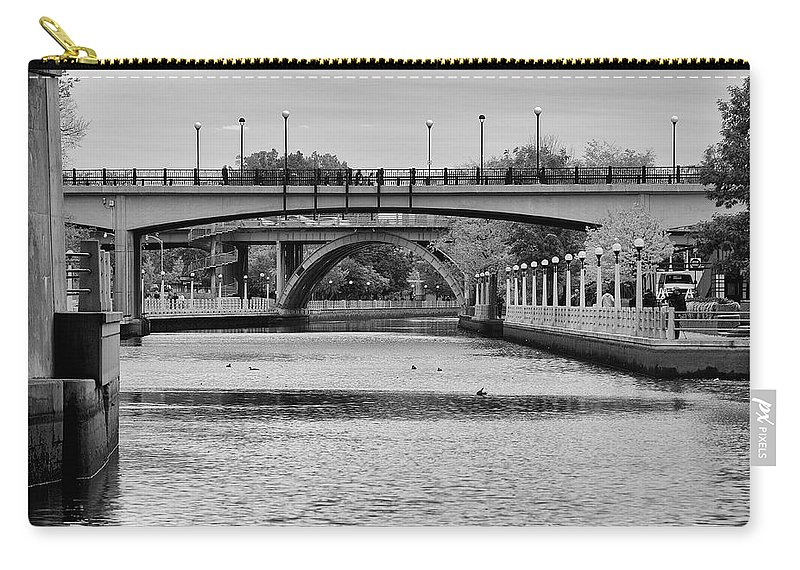 Bridge Canal Ottawa Water Waterway mckenzie Bridge laurier Bridge B&w Canada Rideau rideau Canal Carry-all Pouch featuring the photograph Bridges by Eunice Gibb