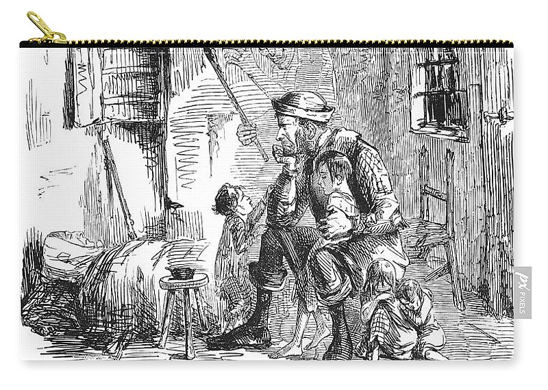 1844 Carry-all Pouch featuring the photograph British Poverty Cartoon by Granger