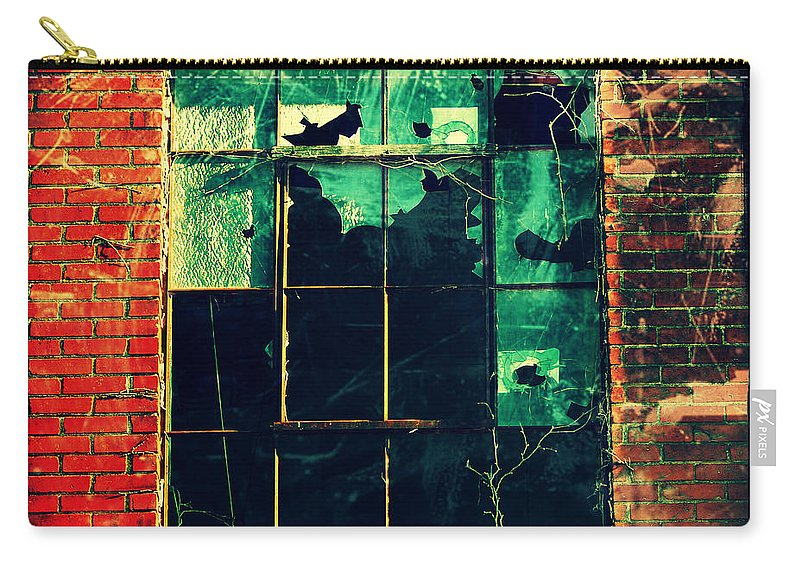 Broken Carry-all Pouch featuring the photograph Broken Windows by Cassie Peters