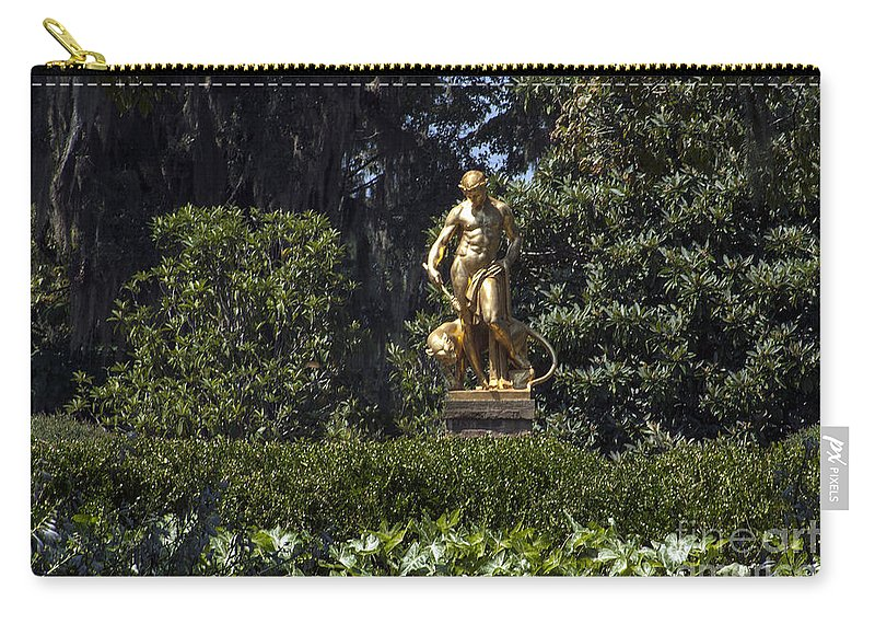 Garden Carry-all Pouch featuring the photograph Brookgreen Golden Statue by Darleen Stry