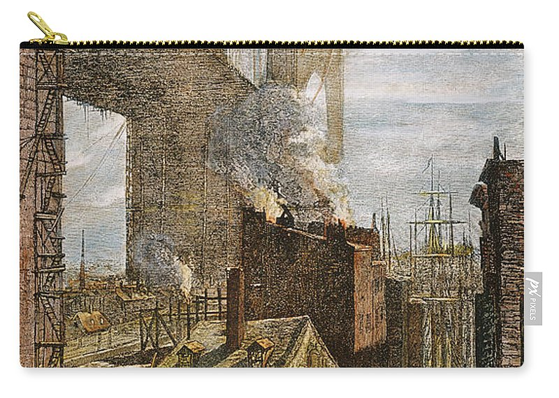 1882 Carry-all Pouch featuring the photograph Brooklyn Bridge, 1882 by Granger