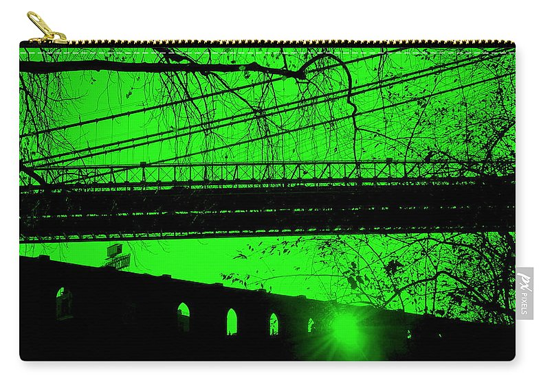 Brooklyn Carry-all Pouch featuring the photograph Brooklyn Bridge In Green by Valentino Visentini