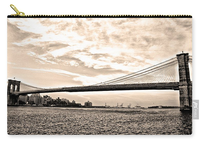 Brooklyn Bridge In Sepia Carry-all Pouch featuring the photograph Brooklyn Bridge In Sepia by Bill Cannon