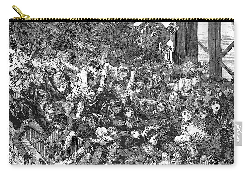 1883 Carry-all Pouch featuring the photograph Brooklyn Bridge Panic 1883 by Granger