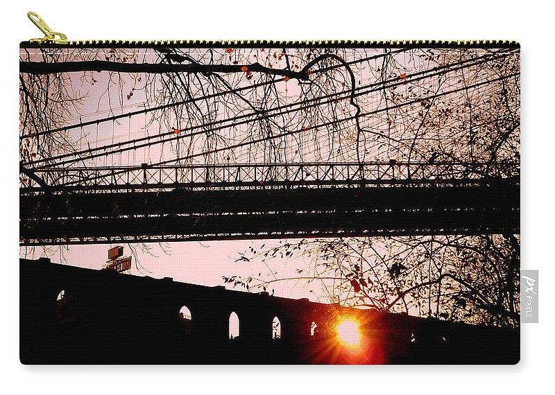 Brooklyn Carry-all Pouch featuring the photograph Brooklyn Bridge by Valentino Visentini