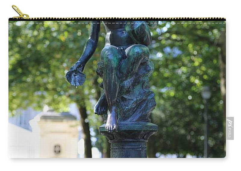 Brussels Carry-all Pouch featuring the photograph Brussels Royal Garden Fountain by Carol Groenen