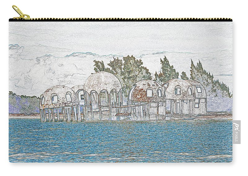 Bubble House Carry-all Pouch featuring the digital art Bubble House In Pencil Skech by Christine Stonebridge