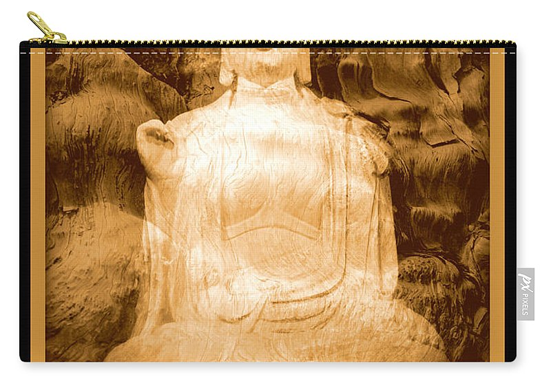 Buddha Carry-all Pouch featuring the photograph Buddha And Ancient Tree With Border by Carol Groenen