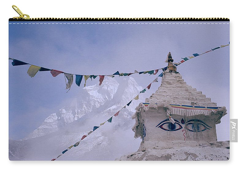 Altitude Carry-all Pouch featuring the photograph Buddhist Shrine In The Himalayas by Shaun Higson