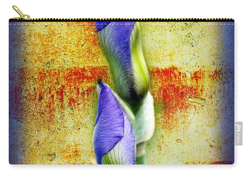 Purple. Iris. Buds Carry-all Pouch featuring the photograph Buddies by Andee Design