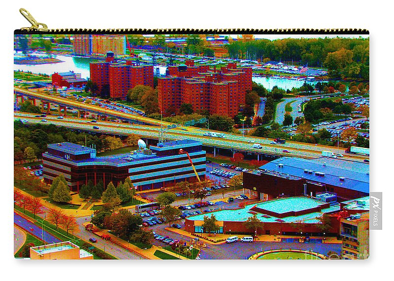 Buffalo Carry-all Pouch featuring the photograph Buffalo New York Aerial View Neon Effect by Rose Santuci-Sofranko