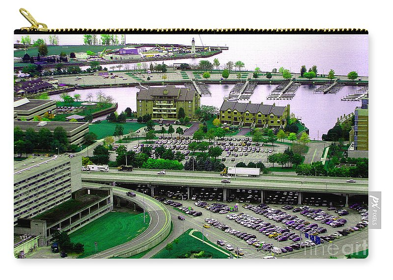 Buffalo Carry-all Pouch featuring the photograph Buffalo New York Waterfront Aerial View Ultraviolet Effect by Rose Santuci-Sofranko