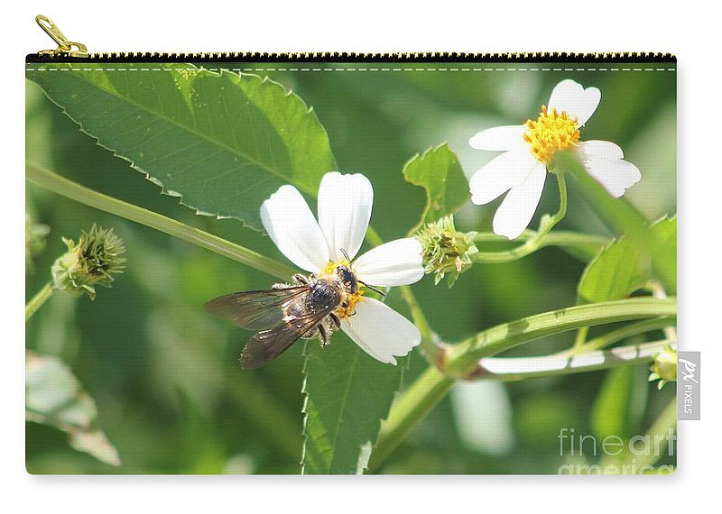Bumble Bee Carry-all Pouch featuring the photograph Bumble Bee 1 by Michelle Powell