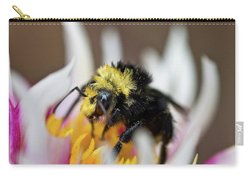 Close-up Photography Carry-all Pouch featuring the photograph Bumblebee Attacking Flower by Greg Nyquist