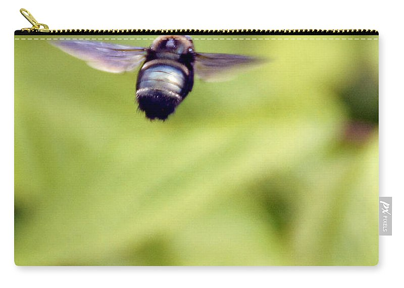 Bumblebee Carry-all Pouch featuring the photograph Bumblebee Midair by Mick Anderson