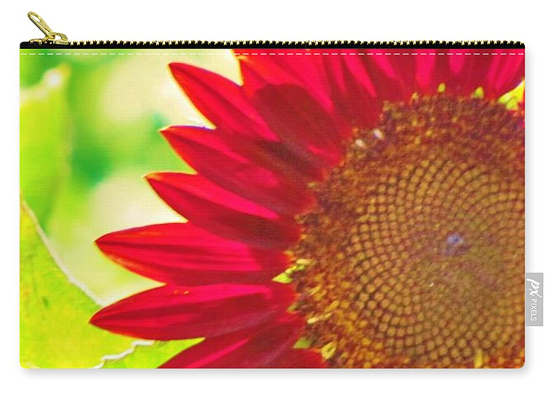 Sunflower Carry-all Pouch featuring the photograph Burgundy Sunflower by Michelle Cassella