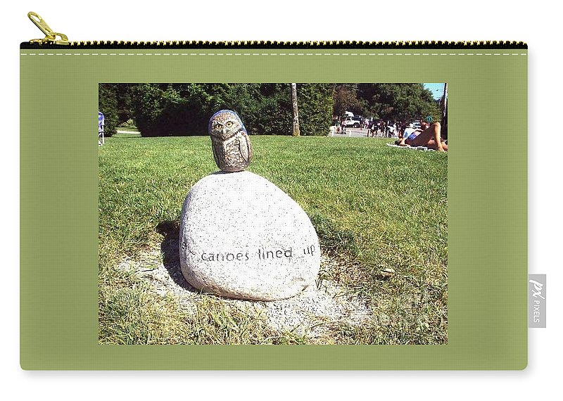 Carry-all Pouch featuring the photograph Burrowing Owl Meets Poetry Stones Of Crescent Beach by Abelone Petersen