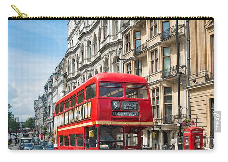 Red Bus Carry-all Pouch featuring the photograph Bus On Piccadilly by Andrew Michael
