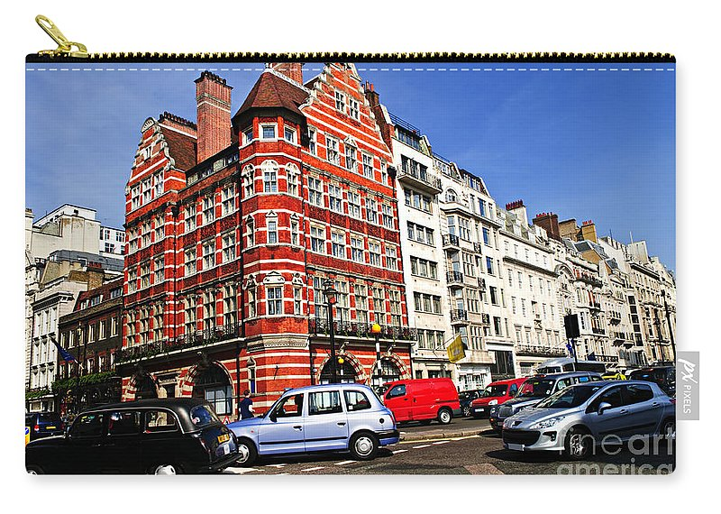 London Carry-all Pouch featuring the photograph Busy Street Corner In London by Elena Elisseeva
