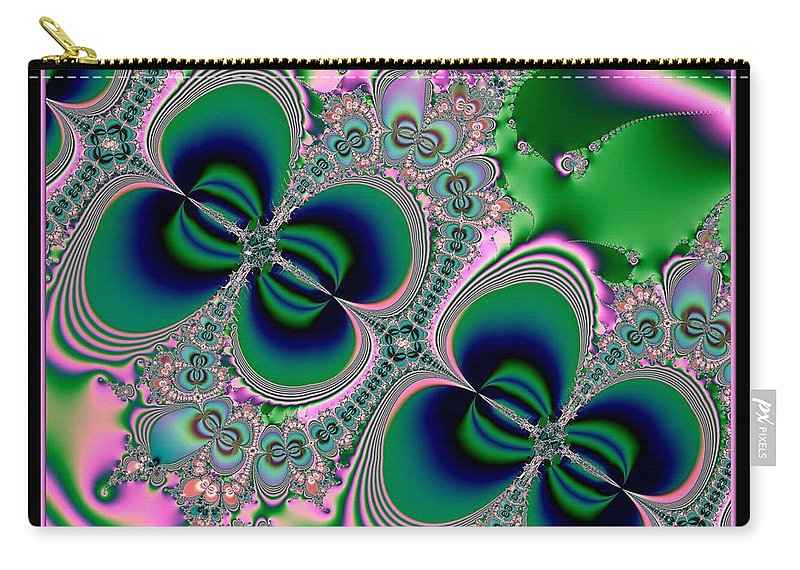 Butterfly Carry-all Pouch featuring the digital art Butterflies On Parade Fractal 123 by Rose Santuci-Sofranko