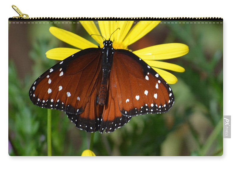 Butterfly Carry-all Pouch featuring the photograph Butterfly And Yellow Flowers by Rebecca Margraf