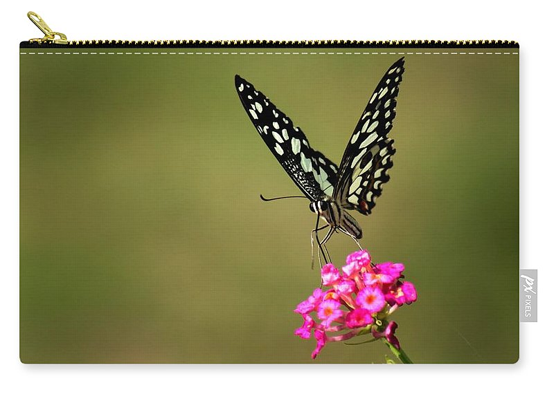 Insects Carry-all Pouch featuring the digital art Butterfly On Pink Flower by Ramabhadran Thirupattur