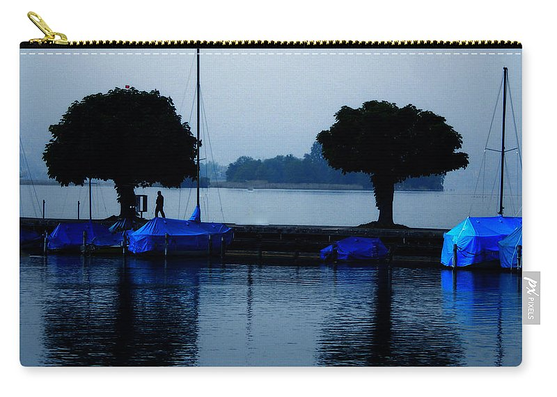 Colette Carry-all Pouch featuring the photograph By Night Zurich Lake Switzerland by Colette V Hera Guggenheim